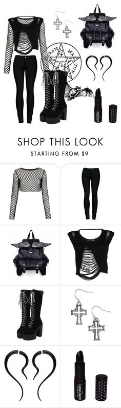 """""""SO"""" by guadifonseca ❤ liked on Polyvore featuring Sebastian Professional, Motel, 2LUV, Religion Clothing and Manic Panic NYC"""