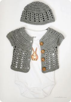 Beautiful grey version of the baby cardi w/ link to her project notes