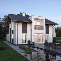 ELK Haus 153 mit Büro Anbau & Zwerchgiebel - ELK Fertighaus | HausbauDirekt Living Haus, Modern House Plans, My House, Architecture Design, Villa, New Homes, Home And Garden, Exterior, How To Plan