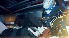 I really think this is super cute. Mass effect :D Mass Effect Romance, Mass Effect Art, Video Game Art, Video Games, Mass Effect Garrus, Mass Effect Universe, Le Double, Commander Shepard, Fan Art