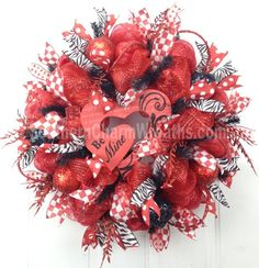 Deco Mesh Valentine Wreath Red White Black Heart Be Mine Sign Door Wreath by www.southerncharmwreaths.com ON SALE $92