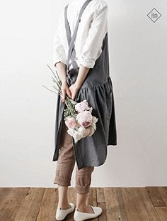 NEW Cozymom Linen Premium Gift Chef Works Handmade Apron Japanese X style Cross back Shape Cotton APRON With colors Contemporary Aprons, Japanese Apron, Japanese Style, Linen Apron, Apron Pockets, Korean Traditional, Apron Dress, Pinafore Dress, Korean Fashion