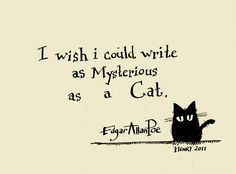 """""""I wish I could write as Mysterious as a Cat."""" - Edgar Allen Poe"""