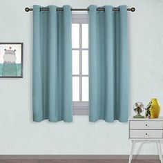 nicetown window treatment thermal insulated solid grommet room darkening curtains drapes for bedroom set of 2 by 63 inch long turquoise blue - 63 Inch Curtains