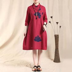 Ethnic Embroidery Loose Cotton Linen Red Dress