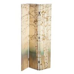 "Three-panel room divider with painted birch trees.  Product: Room dividerConstruction Material: Canvas and metalColor: MultiFeatures: Three panelsDimensions: 71"" H x 48"" W x 1.5"" D"
