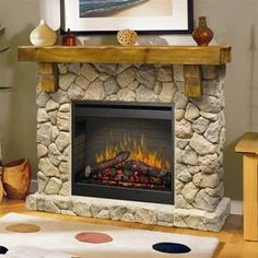 Dimplex Fieldstone Rustic Electric Fireplace Mantel Package http://www.electricfireplacesdirect.com/products-accessories/electric-fireplace-mantel-packages/Dimplex-Fieldstone-Rustic-Electric-Fireplace-Mantel-Package