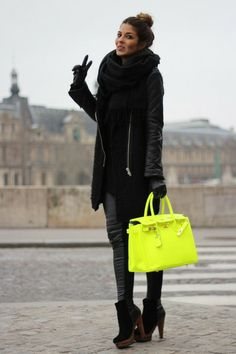 black & neon.