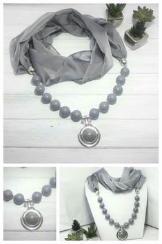 Elegant, dove grey scarf necklace with stylish pendant. Wear to work with formal suit. Handmade Jewelry Designs, Handmade Accessories, Fashion Accessories, Fashion Jewelry, Scarf Necklace, Scarf Jewelry, Beaded Necklace, Fabric Earrings, Fabric Jewelry