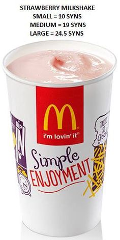 Mac Donald's food syns Slimming World Eating Out, Slimming World Syn Values, Slimming World Recipes Syn Free, Slimming World Syns, Vanilla Milkshake, Strawberry Milkshake, Mcdonalds, Easy Peasy, Healthy Choices