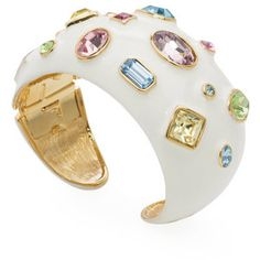 Kenneth Jay Lane White Enamel Cuff With Faceted Stones