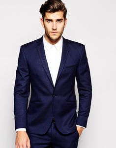 $172, Navy Blazer: Vito Suit Jacket In Slim Fit. Sold by Asos. Click for more info: https://lookastic.com/men/shop_items/202477/redirect