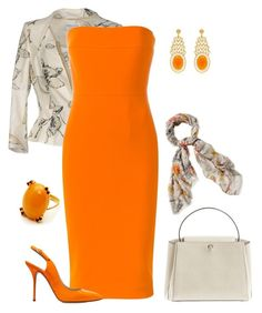 A fashion look from June 2017 by natalyag featuring Victoria Beckham, Casadei, Alexandra Alberta and Cejon Classy Outfits, Chic Outfits, Fashion Outfits, Love Fashion, Fashion Looks, Womens Fashion, Work Chic, Business Attire, Orange