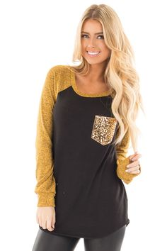 Lime Lush Boutique - Black and Mustard Knit Top with Gold Sequin Pocket, $34.99 (https://www.limelush.com/black-and-mustard-knit-top-with-gold-sequin-pocket/)
