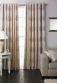 Dalby Lined Eyelet Readymade Curtain Pair - Natural guineys