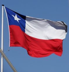 The Chilean Flag . The white stands for the snow covered Andes. Red stands for the blood of patriots that fought for indpendence. Blue stands for the blue sky and sea. The white five-pointed star stands for a guide to progress and honor. Chilean Flag, National Flag, America, Country, Flags, Chi Chi, Ebay, Patriots, Latina