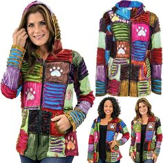 Patchwork Paw Print Hooded Jacket ~ Animal Rescue Site