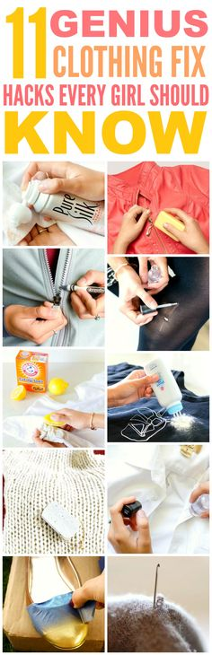 These 11 genius clothing fix hacks are THE BEST! I'm so glad I found these AWESOME tips! Now I have some great ways to save money on clothes. Definitely pinning for later!