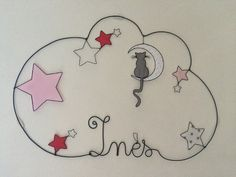Réalisation d'un prénom en fil d'aluminium avec un chat, lune et étoiles très originale pour décorer la chambre de votre enfant dimensions : largeur 51 X hauteur 43 Personn - 17395439