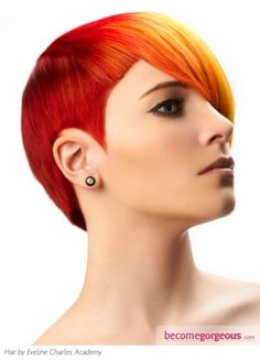 Stylish Punk Two Tone Hair Style - this is probably brighter than I could go but I love the concept!