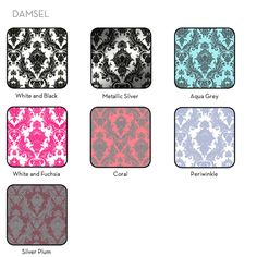 Damsel is available in White and Black, Metallic Silver, Periwinkle, White and Fuchsia, Aqua Grey, Silver Plum and Coral