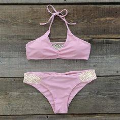 Cupshe Have Your Cake Lace Halter Bikini Set