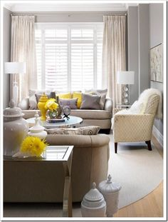 With my white-themed furniture scheme I have going on, bright yellow accents are such a great idea!