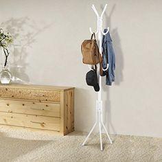 Metal-Coat-Hat-Rack-Stand-3-Tier-Hall-Tree-11-Hooks-White-Backpack-Scarf-Hats-Ne