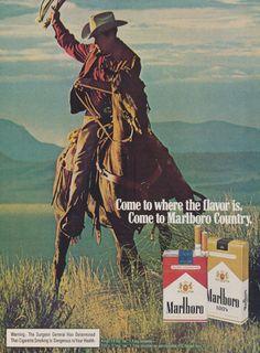 Marlboro Cigarettes Cowboy Man Ad 1970s Vintage Advertising Photo Print, Wall Art Decor