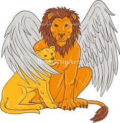 Winged Lion With Cub Under Its Wing Drawing Vector Stock Illustration.  Drawing sketch style illustration of a winged lion, a mythological creature that resembles a lion with bird-like wings, protecting it's cub by putting it under it's wing set on isolated white background. #illustration #WingedLionWithCub