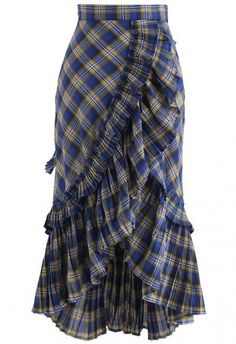Applause of Ruffle Tiered Frill Hem Skirt in Blue Plaid - Retro, Indie and Unique Fashion Unique Fashion, Fashion Tips, Fashion Design, 2000s Fashion, Fashion Fashion, Retro Fashion, Denim Skirt Outfits, Plaid Skirts, Casual Skirts