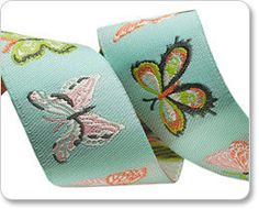 Aqua Butterflies woven ribbon from the Winged collection by Bonnie Christine for Renaissance Ribbons