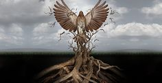 34979264 - new life breaking free as a concept for freedom and power as the rise of the phoenix to be reborn and overcome challenges rising from entangled tree roots as a success symbol of hope.