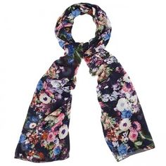 Navy and Light Blue Large Floral Chiffon Hijab