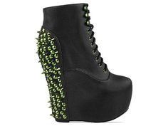 *shoegasm* Jeffrey Campbell Damsel Spike in Black Green Spike at Solestruck.com