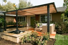 Backyard patio with roof metal and wood backyard patio deck roof ideas . backyard patio with roof modern patio roof design Veranda Pergola, Front Porch Pergola, Patio Pergola, Large Backyard Landscaping, Pergola Design, Front Courtyard, Wood Patio, Pergola With Roof, Cheap Pergola