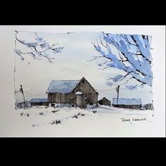 "Instagram photo by sheelerart - NewYouTube Video ""Winter Scene"" Sketching on Pre-painted Paper Latest video posted on YouTube. Link to my YouTube Channel is in my bio or click the following link. https://m.youtube.com/c/petersheelerart My sketches now for sale on Ebay: http://www.ebay.ca/sch/sheelerart/m.html?_nkw=&_armrs=1&_ipg=&_from= #Video #youtube #youtubers #landscape #art #original #watercolor #winsorandnewton #watercolour #painting #paintingaday #penandink #architecture #ink #mol..."