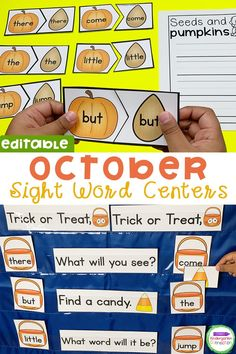Teaching sight words to Kindergarten or Pre-k students just got easier with these editable sight word centers! Perfect for fall, pumpkin, and Halloween literacy centers - the best October Fall themes! These are a must if you've wondered how to teach sight words to your early learners. #sightwords #kindergarten #prek #teachingkindergarten