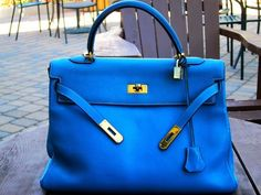 Hermes Blue Jean Kelly Bag