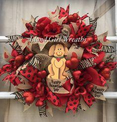 Valentine's Wreath Burlap Valentines Wreath by IslandGirlWreaths