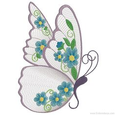 Floral Butterfly  Machine Embroidery Design. 4x4 5x7 8x14