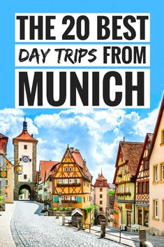 A stunning list of the 20 best day trips from Munich, Germany. Learn all about the many beautiful tourist attractions near Munich. Bavaria's capital has so many UNESCO World Heritage site close by. Salzburg by train or bus, Rothenburg ob der Tauber or Castle Neuschwanstein are just some of them. Clear for more information on day trip options from Munich. #Munich #travel #Germany