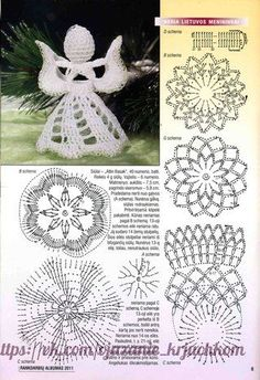 I use always little styrofoam ball inside the crocheted head.DIY - zrób to sam na Stylowi. Crochet Christmas Decorations, Crochet Ornaments, Christmas Crochet Patterns, Holiday Crochet, Crochet Snowflakes, Christmas Crafts, Crochet Angel Pattern, Crochet Angels, Crochet Diagram