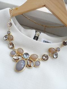 Champagne  and Grey Jeweled Crystal Statement door AnneEmmaJewelry