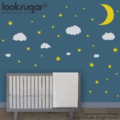 0086 - Moon Stars and Clouds Wall Decals - Night Sky Children Wall Stickers - Nursery Wall Decals - Modern Wall Art - Children Stickers. $38.00, via Etsy.