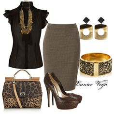 """Black And Brown"" by eunice-perez-de-vega on Polyvore"