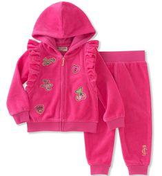 Juicy Couture Girls' Velour Jog Sets, Pink Boxer, 3-6 Months