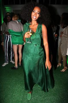 At The End Of Every Rainbow Is Solange Knowles #refinery29  http://www.www.refinery29.com/2016/01/101954/solange-street-style-pictures#slide-4  All emerald everything....