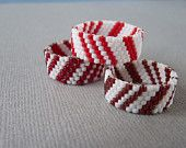 Custom Candy Cane Stripe Hand Woven Seed Bead Band Ring
