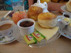Mmmm alternative cream tea, cheese scones and chutney